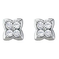 14kt White Gold Womens Round Diamond Square-shape Cluster Stud Earrings 1/4 Cttw