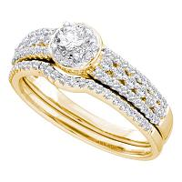 14kt Yellow Gold Womens Round Diamond Bridal Wedding Engagement Ring Band Set 3/4 Cttw