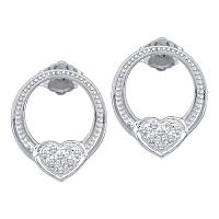 10kt White Gold Womens Round Diamond Heart Love Cluster Earrings 1/12 Cttw
