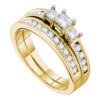 14kt Yellow Gold Womens Princess Diamond 3-stone Bridal Wedding Engagement Ring Band Set 1.00 Cttw