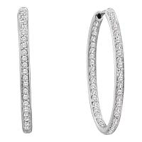 14kt White Gold Womens Round Diamond Inside Outside Endless Hoop Earrings 1/4 Cttw