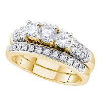 14kt Yellow Gold Womens Round Diamond 3-Stone Bridal Wedding Engagement Ring Band Set 1-1/10 Cttw