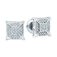 10kt White Gold Womens Round Diamond Square Geometric Cluster Earrings 1/10 Cttw