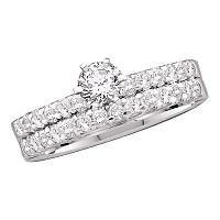 14kt White Gold Womens Round Diamond Solitaire Bridal Wedding Engagement Ring Band Set 1.00 Cttw