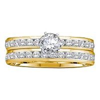 14kt Yellow Gold Womens Round Diamond Bridal Wedding Engagement Ring Band Set 1-7/8 Cttw
