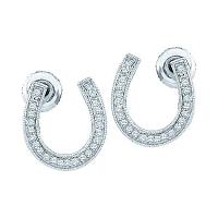 10k White Gold Diamond Womens Horseshoe Lucky Screwback Stud Earrings 1/6 Cttw