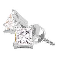 14kt White Gold Unisex Princess Diamond Solitaire Stud Earrings 1/3 Cttw