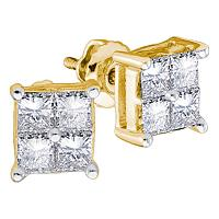 14kt Yellow Gold Womens Princess Diamond Square Cluster Stud Earrings 1/4 Cttw