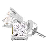 14kt White Gold Unisex Princess Diamond Solitaire Studs Earrings 1/5 Cttw