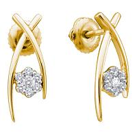 10kt Yellow Gold Womens Round Diamond Flower Cluster Screwback Stud Earrings 1/4 Cttw