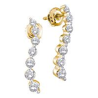 14kt Yellow Gold Womens Round Diamond Graduated Journey Screwback Earrings 1/2 Cttw