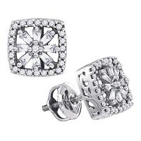 14kt White Gold Womens Baguette Round Diamond Square Stud Earrings 1/3 Cttw