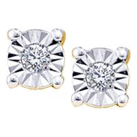 14kt Yellow Gold Womens Round Illusion-set Diamond Solitaire Screwback Earrings 1/20 Cttw