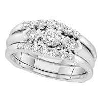 14kt White Gold Womens Round Diamond 3-Stone Bridal Wedding Engagement Ring Band Set 3/4 Cttw