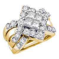 14kt Yellow Gold Womens Princess Diamond Cluster Bridal Wedding Engagement Ring Band Set 2.00 Cttw