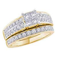 14k Yellow Gold Princess Diamond Womens Luxury Wedding Bridal Engagement Ring Band Set 3/4 Cttw