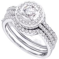 14kt White Gold Womens Round Diamond Bridal Wedding Engagement Ring Band Set 5/8 Cttw