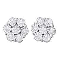 10kt White Gold Womens Round Illusion-set Diamond Flower Cluster Earrings 1.00 Cttw