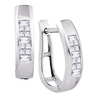 10k White Gold Baguette Princess Channel-Set Diamond Womens Hoop Earrings 1/3 Cttw