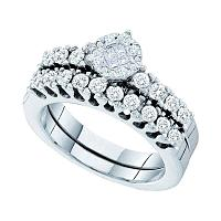 14kt White Gold Womens Princess Round Diamond Soleil Bridal Wedding Engagement Ring Band Set 7/8 Cttw