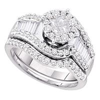 14kt White Gold Womens Princess Diamond Bridal Wedding Engagement Ring Band Set 1-1/4 Cttw