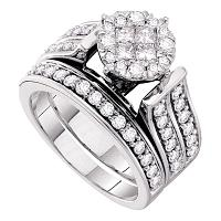 14kt White Gold Womens Princess Diamond Bridal Wedding Engagement Ring Band Set 1-1/3 Cttw