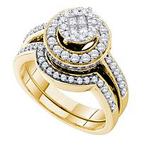 14kt Yellow Gold Womens Princess Round Diamond Soleil Bridal Wedding Engagement Ring Band Set 1.00 Cttw