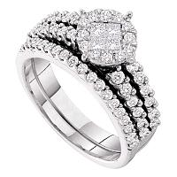 14kt White Gold Womens Princess Round Diamond Soleil Bridal Wedding Engagement Ring Band Set 1.00 Cttw