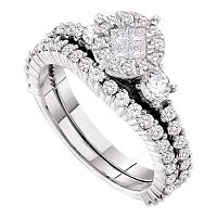 14kt White Gold Womens Princess Round Diamond Soleil Bridal Wedding Engagement Ring Band Set 1-3/8 Cttw
