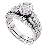 14kt White Gold Womens Princess Diamond Soleil Bridal Wedding Engagement Ring Band Set 1-1/5 Cttw