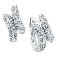 14kt White Gold Womens Round Diamond Bypass Huggie Hoop Earrings 1/2 Cttw