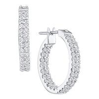 10kt White Gold Womens Round Diamond Hoop Earrings 1.00 Cttw