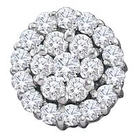 14kt White Gold Womens Round Diamond Circle Frame Flower Cluster Earrings 1-1/2 Cttw