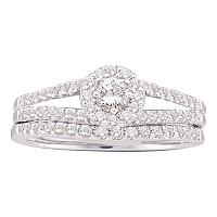 14kt White Gold Womens Round Diamond Split-shank Halo Bridal Wedding Engagement Ring Band Set 5/8 Cttw