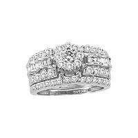 14kt White Gold Womens Round Diamond Cluster Bridal Wedding Engagement Ring Band Set 1-3/8 Cttw