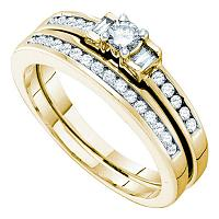 10kt Yellow Gold Womens Round Diamond 3-Stone Bridal Wedding Engagement Ring Band Set 3/8 Cttw