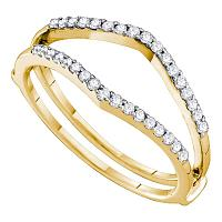 14kt Yellow Gold Womens Round Diamond Ring Guard Wrap Enhancer Wedding Band 1/4 Cttw