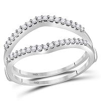 14kt White Gold Womens Round Diamond Ring Guard Wrap Enhancer Wedding Band 1/4 Cttw