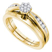 14k Yellow Gold Womens Round Diamond Bridal Wedding Engagement Ring Band Set 1/4 Cttw