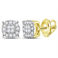 14kt Yellow Gold Womens Princess Round Diamond Soleil Cluster Earrings 1/4 Cttw