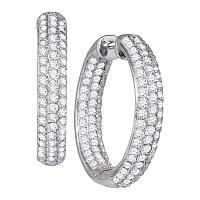 14kt White Gold Womens Round Pave-set Diamond Inside Outside Hoop Earrings 2-7/8 Cttw