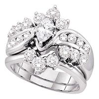 14kt White Gold Womens Marquise Diamond Bridal Wedding Engagement Ring Band Set 2.00 Cttw