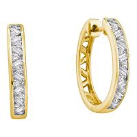 14k Yellow Gold Womens Round Baguette Diamond Hoop Earrings 1/2 Cttw