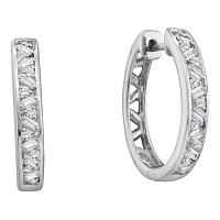 14kt White Gold Womens Round Baguette Diamond Hoop Earrings 1/2 Cttw