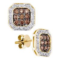 14kt Yellow Gold Womens Round Cognac-brown Color Enhanced Diamond Square Cluster Screwback Earrings 3/4 Cttw