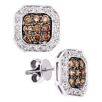 14kt White Gold Womens Round Cognac-brown Color Enhanced Diamond Square Cluster Stud Earrings 3/4 Cttw