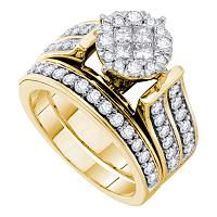 14kt Yellow Gold Womens Princess Diamond Soleil Bridal Wedding Engagement Ring Set 1-1/3 Cttw