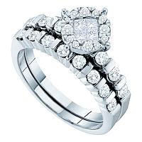 14kt White Gold Womens Princess Round Diamond Soleil Bridal Wedding Engagement Ring Band Set  Cttw