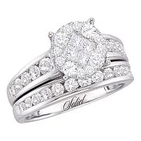 14kt White Gold Womens Diamond Soleil Cluster Bridal Wedding Engagement Ring Band Set 1/2 Cttw