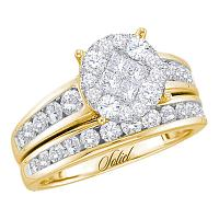 14kt Yellow Gold Womens Diamond Soleil Cluster Bridal Wedding Engagement Ring Band Set 1/2 Cttw